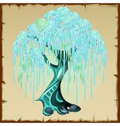Blue fairy tree with lush foliage vector