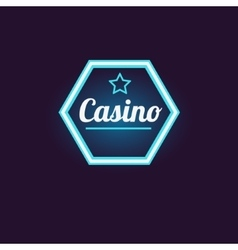 Blue hexahedron casino neon sign vector