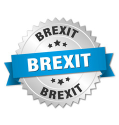Brexit round isolated silver badge vector