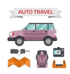 Car drive service elements concept with flat icons vector image