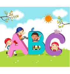 cartoon kids with abc letters vector image