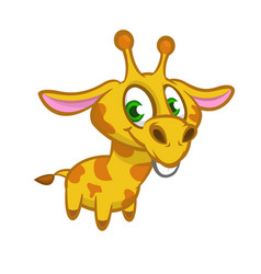 cartoon of funny cute giraffe vector image