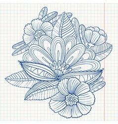 composition with decorative flowers and leaves vector image
