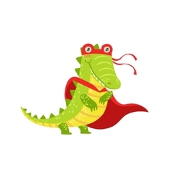 Crocodile animal dressed as superhero with a cape vector