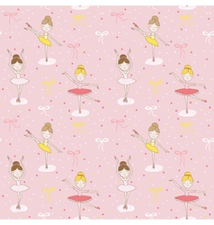 Cute balerina background - seamless pattern vector
