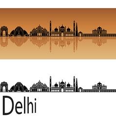 Delhi skyline in orange vector image vector image