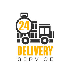 Delivery service 24 hours logo design template vector