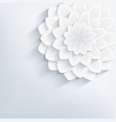Floral abstract grey background with 3d flower vector