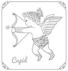 Flying cupid with arch cartoon line art vector