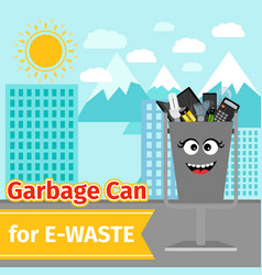 garbage can with e-waste trash vector image