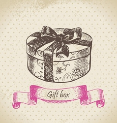 Gift box hand drawn vector image