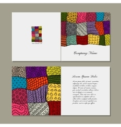 Greeting card patchwork carpet design vector