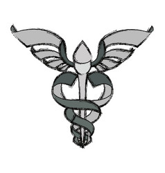 Isolated caduceus emblem vector