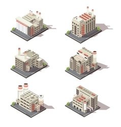 Isometric Factory Icon Set vector image