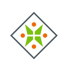 Letter x geometry people logo vector