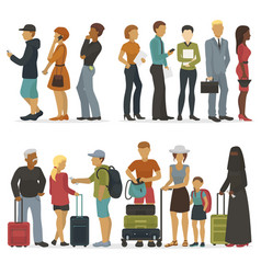 line of young people characters while waiting for vector image