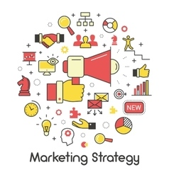 Marketing Strategy Line Art Thin Icons vector image