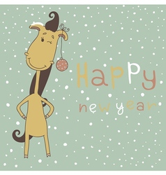 New Year Card with Cartoon Horse vector image