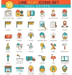 Real estates flat line icon set Modern vector image