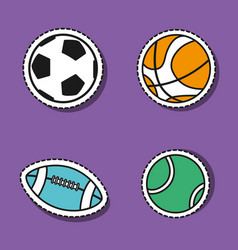 Set sport elements to play patches decoration vector