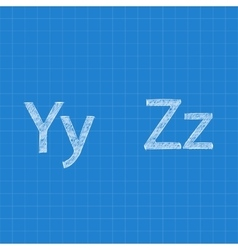 Sketched letters Y Z on blueprint background vector image