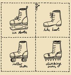 Sport shoes doodle set vector