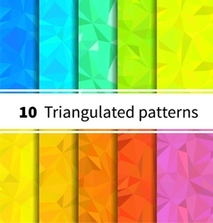 Ten triangulated seamless patterns in rainbow vector image vector image