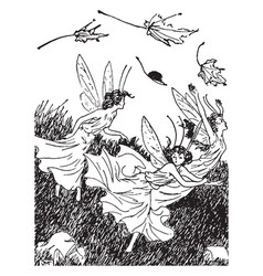 The wise and foolish fairies vintage vector