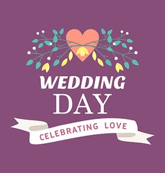 Wedding label badges stamp and floral design vector