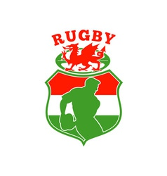 Welsh rugby player wales dragon shield vector