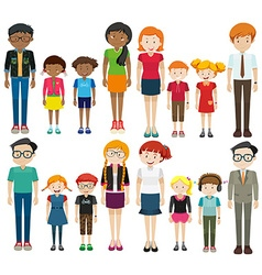 Young and old people on white background vector image