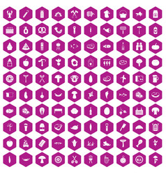 100 barbecue icons hexagon violet vector