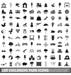 100 childrens park icons set simple style vector