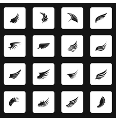 Wing icons set simple style vector