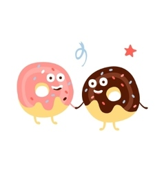 Two doughnuts holding hands children birthday vector