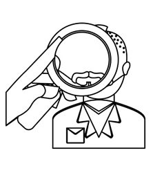 Magnifying glass over man investigation icon image vector