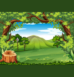 Mountain scene with green trees vector
