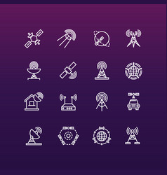 Satellite and orbit communication thin line icons vector
