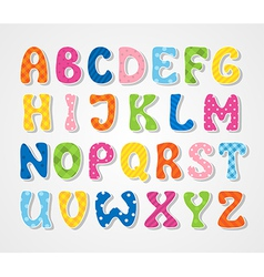 Cute textured sticker alphabet vector image