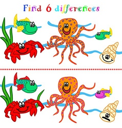 Difference game with marine life vector