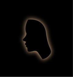 Outline of the form of a womans face in the dark vector image