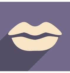 Flat with shadow icon and mobile application lips vector