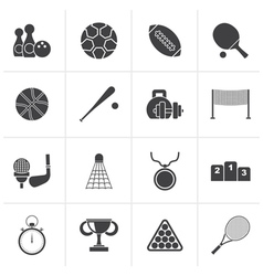 Black sport equipment icons vector
