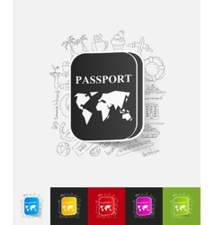 Passport paper sticker with hand drawn elements vector
