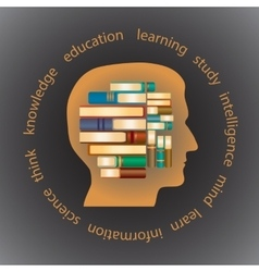 Silhouette of a head in profile filled with books vector