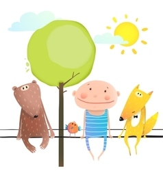 Friendly animals and kid cute funny friends vector