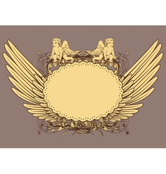 vintage emblem with wings vector image
