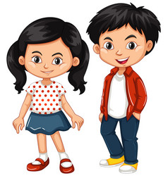 Asian boy and girl standing vector