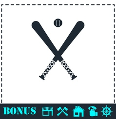 Baseball icon flat vector