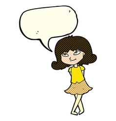 Cartoon clever girl with speech bubble vector